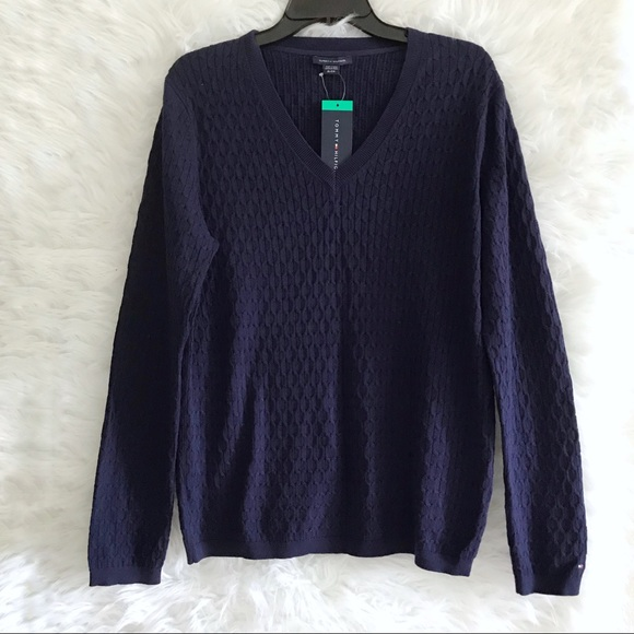 L Large Size Denim Blue 1147484 NEW Tommy Hilfiger Women/'s Sweater